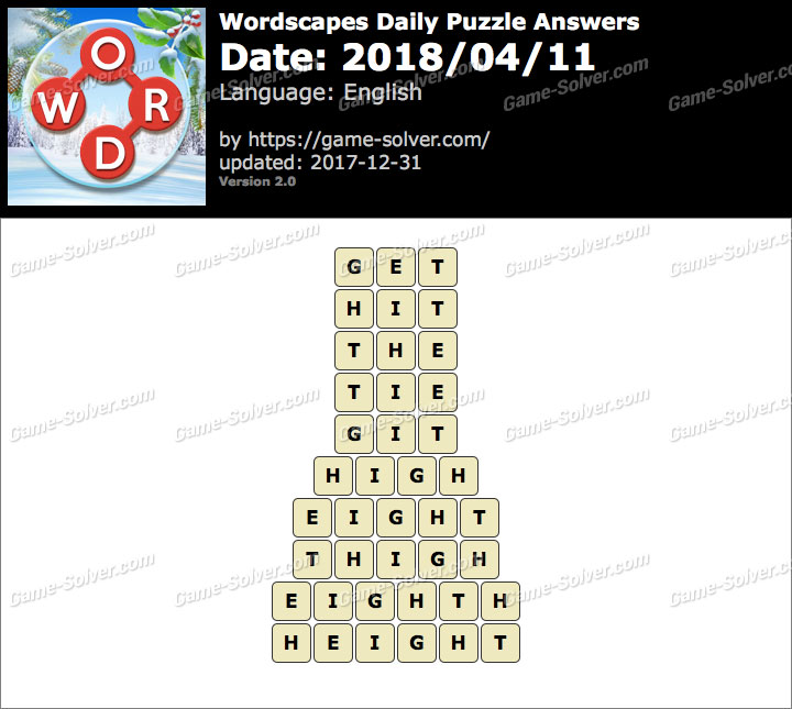 Wordscapes Daily Puzzle 2018 April 11 Answers