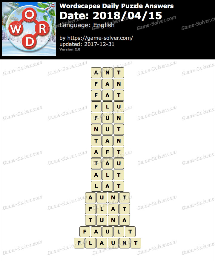 Wordscapes Daily Puzzle 2018 April 15 Answers