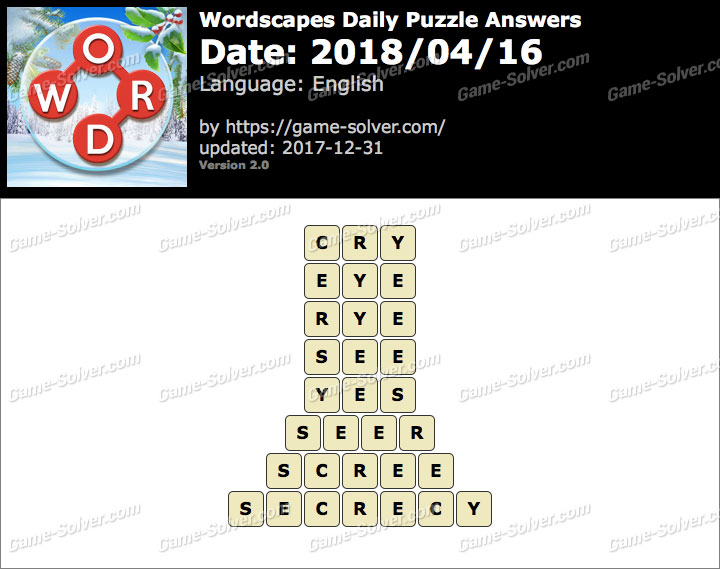 Wordscapes Daily Puzzle 2018 April 16 Answers