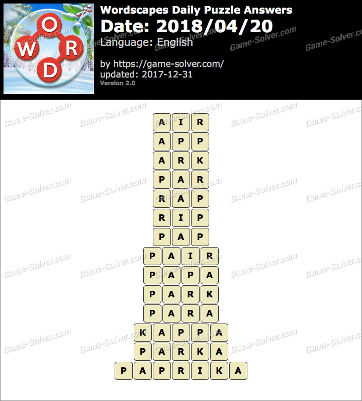 Wordscapes Daily Puzzle 2018 April 20 Answers