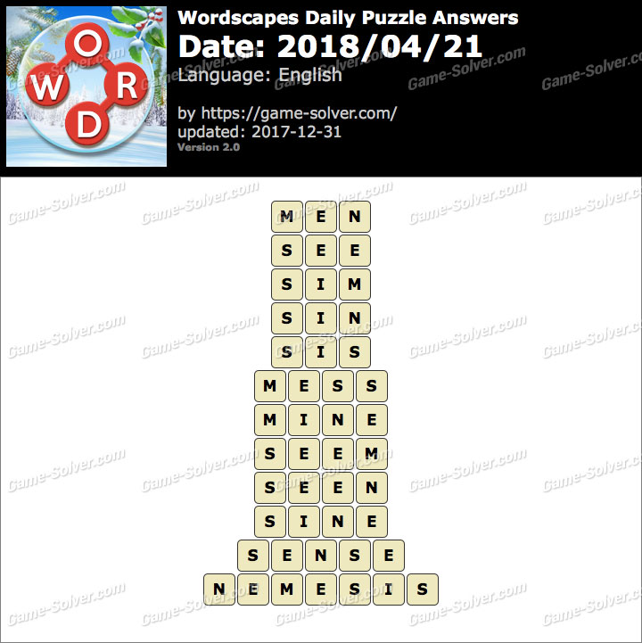 Wordscapes Daily Puzzle 2018 April 21 Answers
