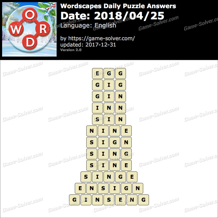Wordscapes Daily Puzzle 2018 April 25 Answers