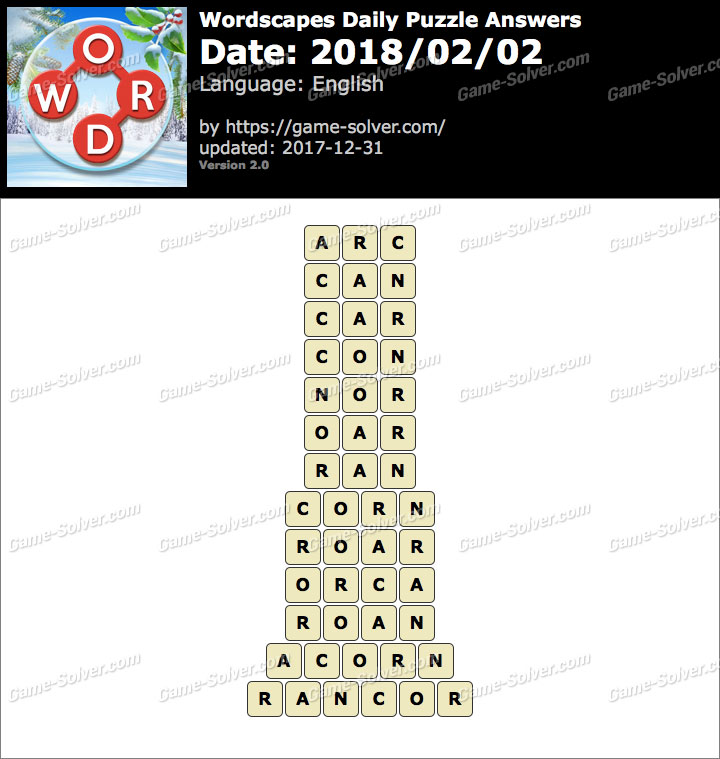 Wordscapes Daily Puzzle 2018 February 02 Answers