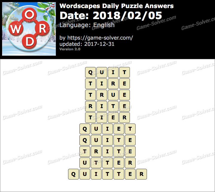 Wordscapes Daily Puzzle 2018 February 05 Answers