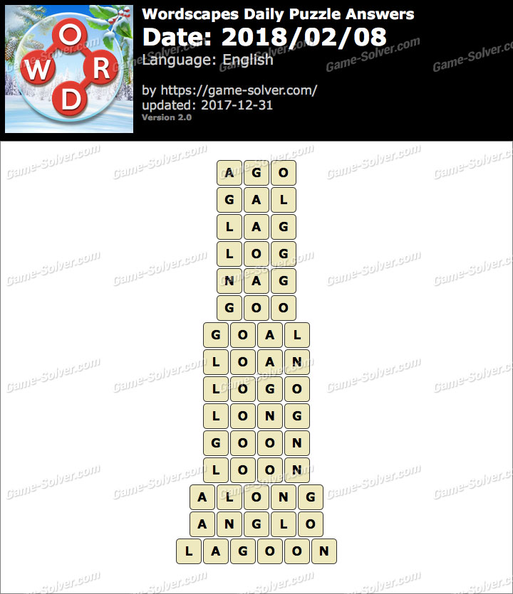 Wordscapes Daily Puzzle 2018 February 08 Answers