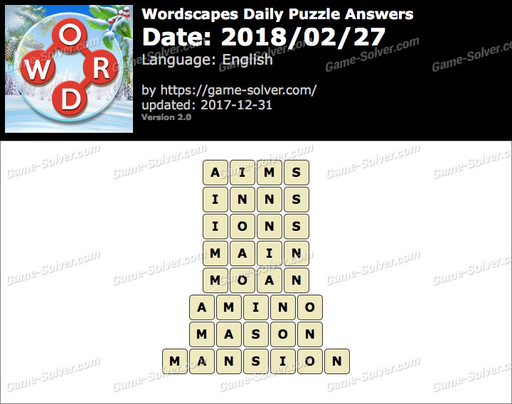 Wordscapes Daily Puzzle 2018 February 27 Answers