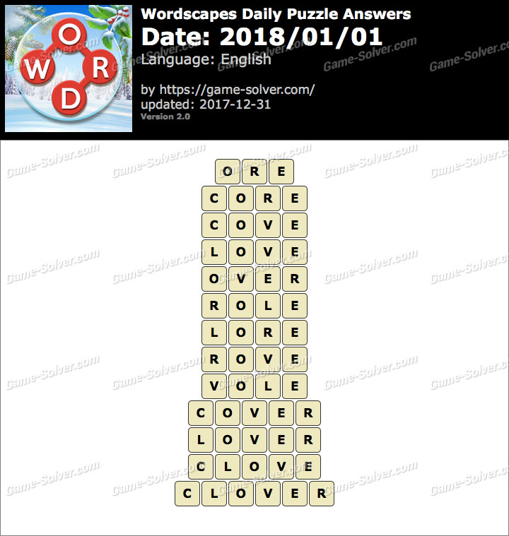 Wordscapes Daily Puzzle 2018 January 01 Answers