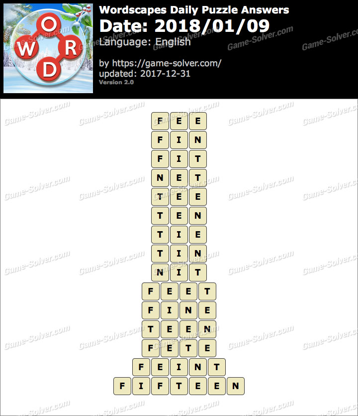 Wordscapes Daily Puzzle 2018 January 09 Answers