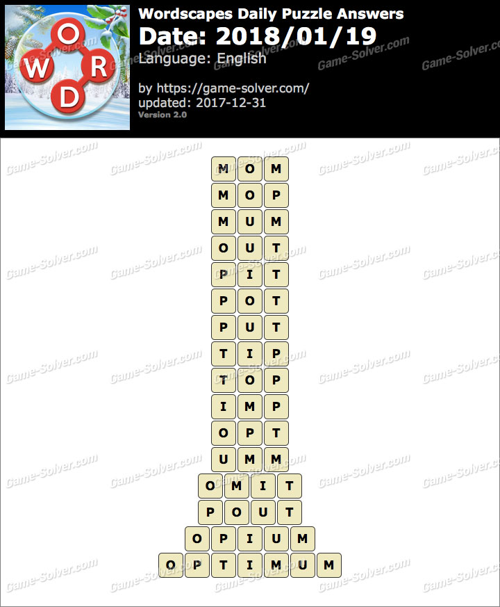 Wordscapes Daily Puzzle 2018 January 19 Answers