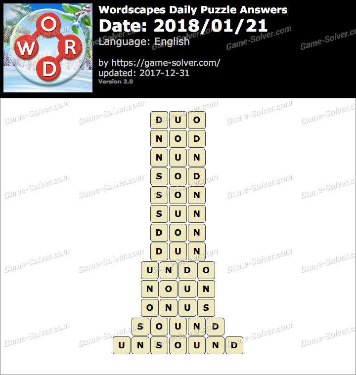 Wordscapes Daily Puzzle 2018 January 21 Answers