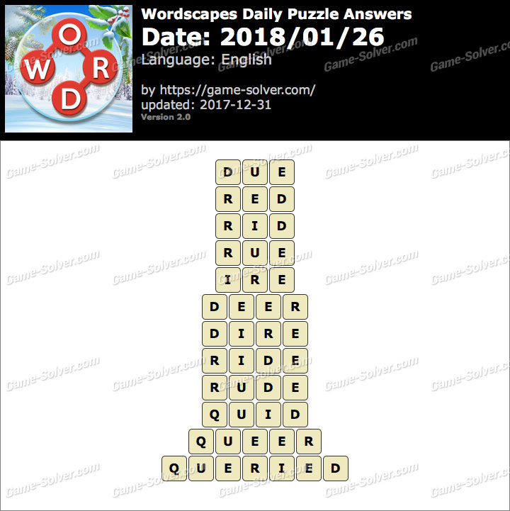 Wordscapes Daily Puzzle 2018 January 26 Answers