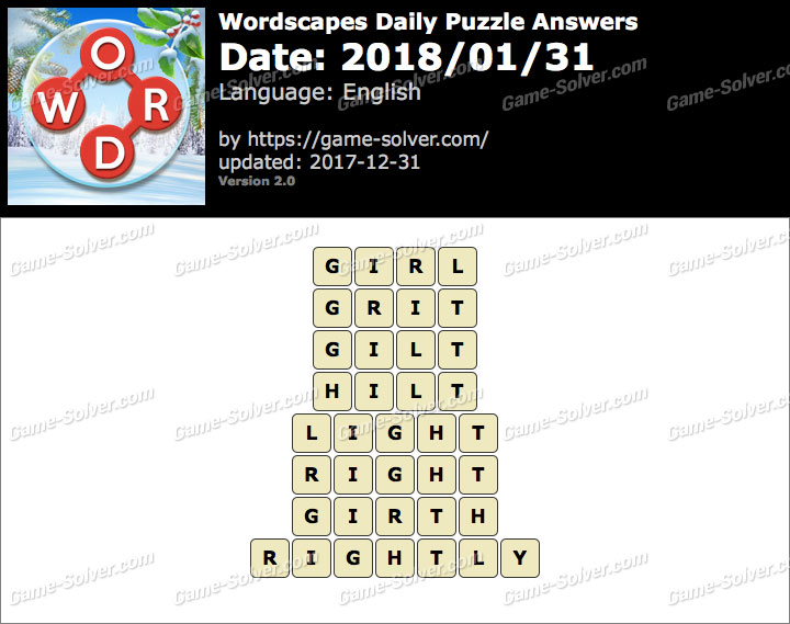 Wordscapes Daily Puzzle 2018 January 31 Answers