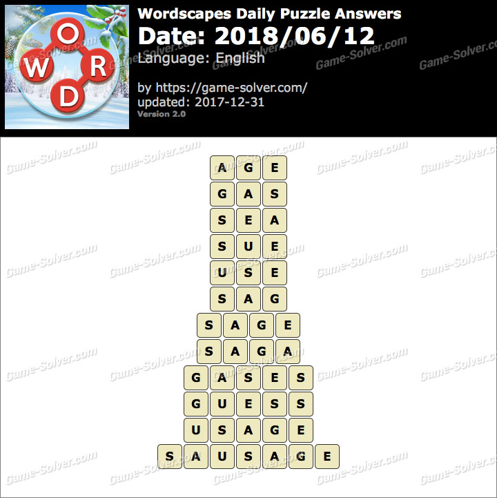 Wordscapes Daily Puzzle 2018 June 12 Answers