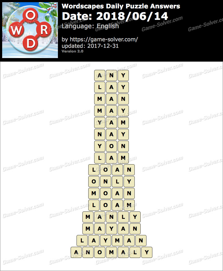 Wordscapes Daily Puzzle 2018 June 14 Answers