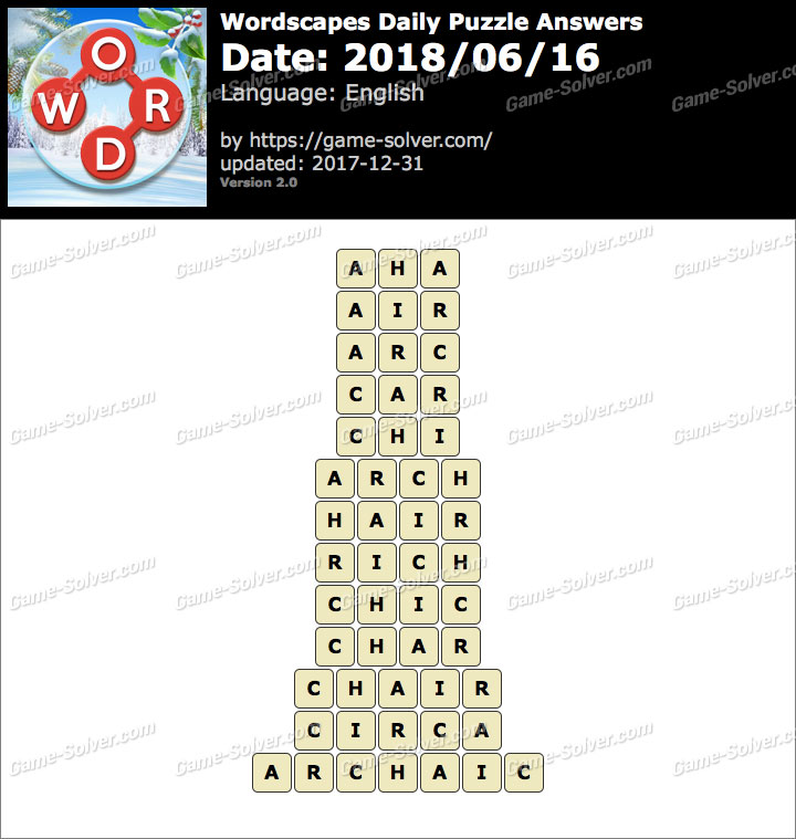 Wordscapes Daily Puzzle 2018 June 16 Answers