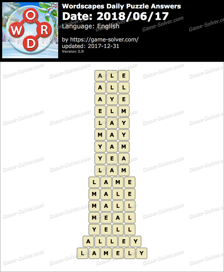 Wordscapes Daily Puzzle 2018 June 17 Answers