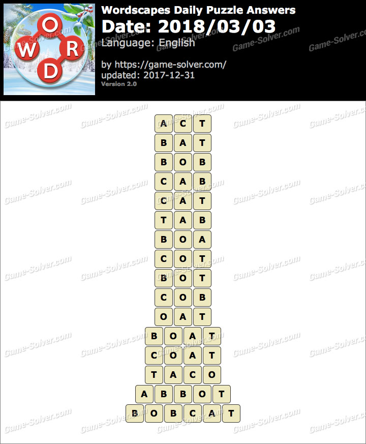 Wordscapes Daily Puzzle 2018 March 03 Answers