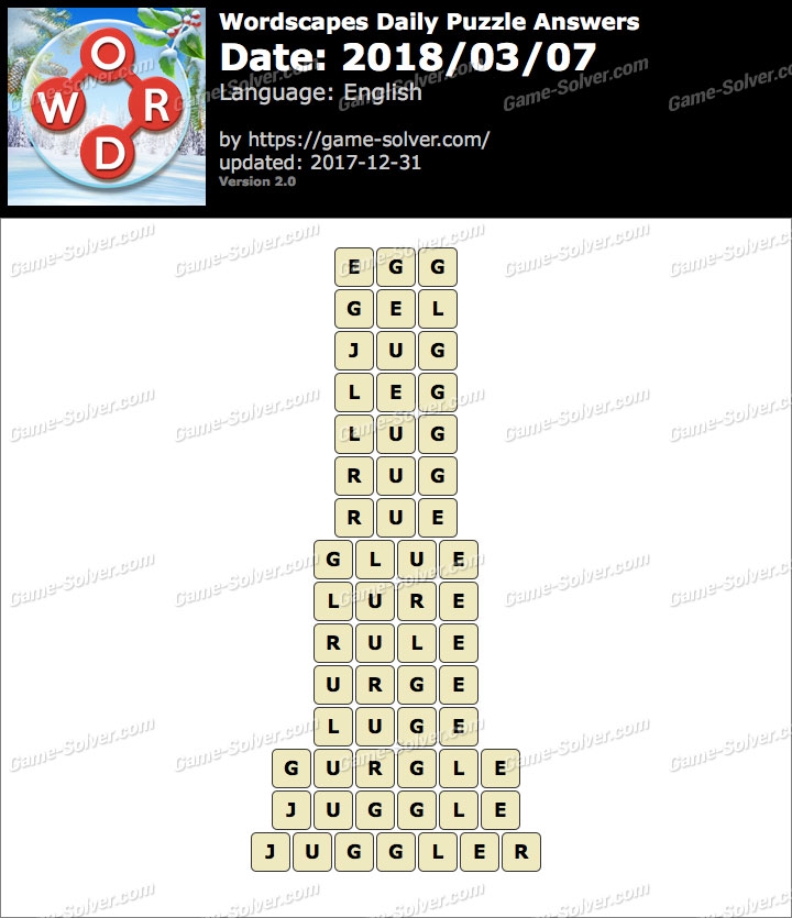 Wordscapes Daily Puzzle 2018 March 07 Answers