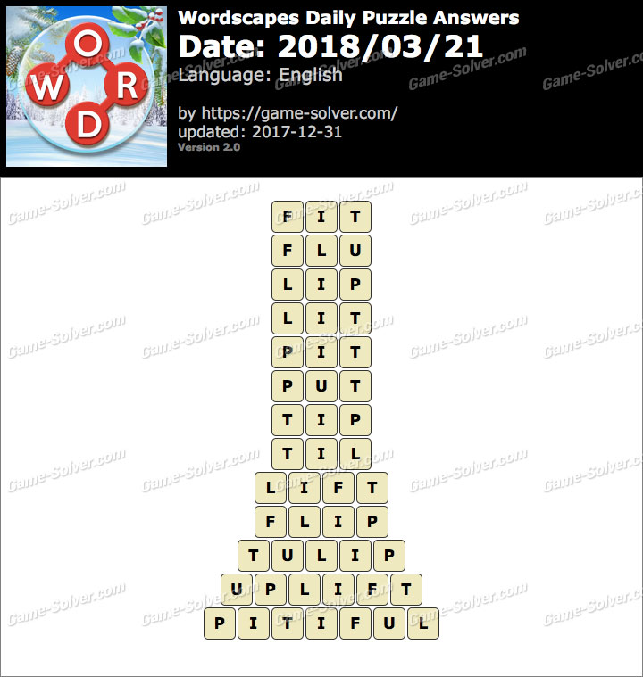 Wordscapes Daily Puzzle 2018 March 21 Answers