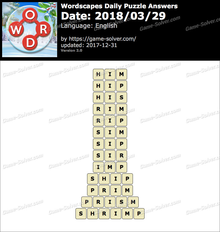Wordscapes Daily Puzzle 2018 March 29 Answers
