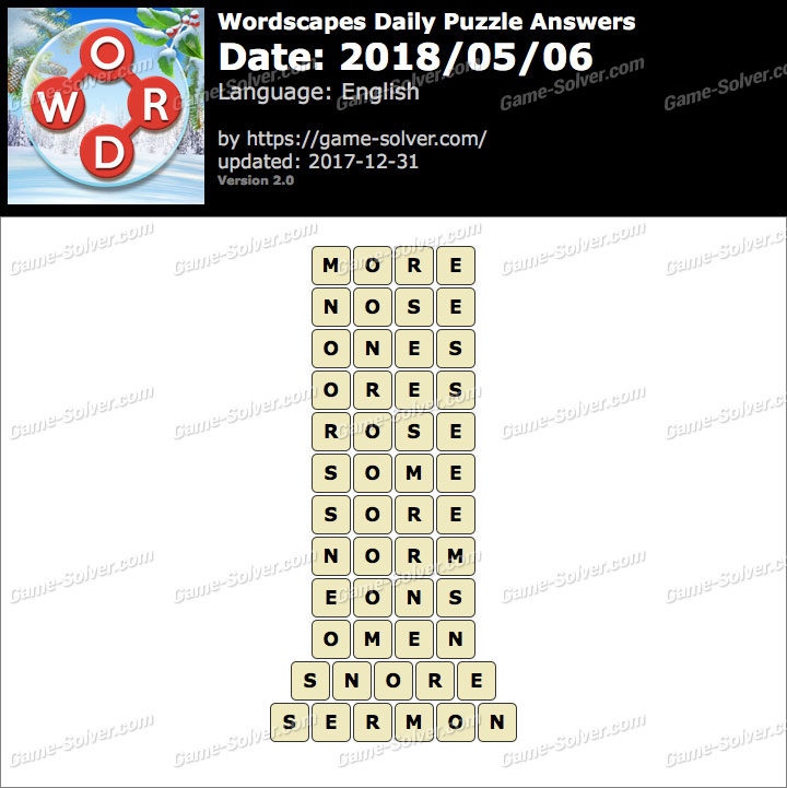 Wordscapes Daily Puzzle 2018 May 06 Answers