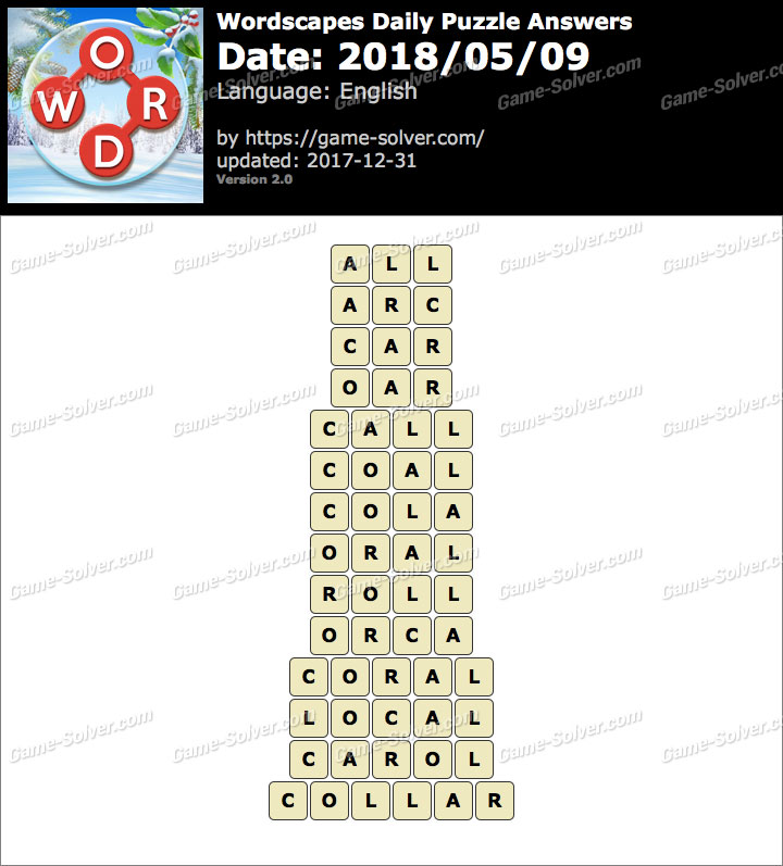 Wordscapes Daily Puzzle 2018 May 09 Answers