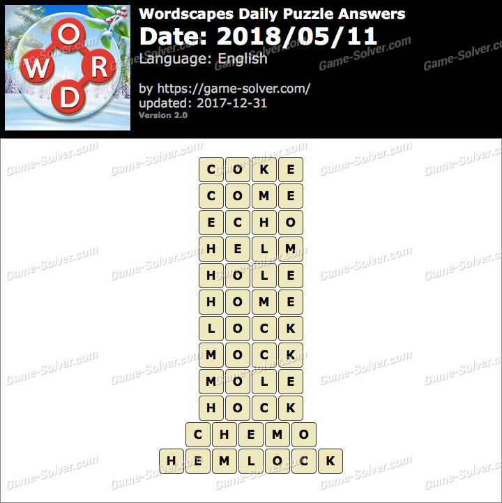 Wordscapes Daily Puzzle 2018 May 11 Answers