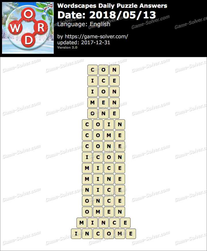 Wordscapes Daily Puzzle 2018 May 13 Answers