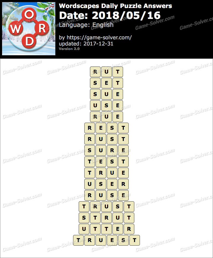 Wordscapes Daily Puzzle 2018 May 16 Answers