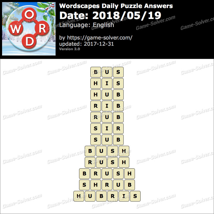 Wordscapes Daily Puzzle 2018 May 19 Answers