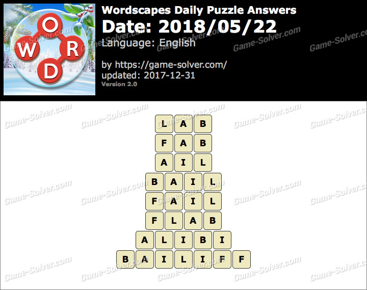Wordscapes Daily Puzzle 2018 May 22 Answers