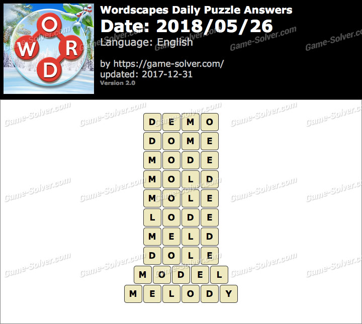 Wordscapes Daily Puzzle 2018 May 26 Answers
