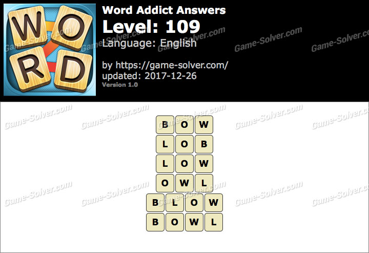 Word Addict Level 109 Answers