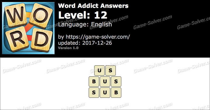 Word Addict Level 12 Answers