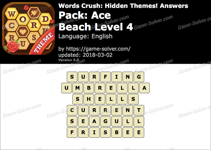 Words Crush Ace-Beach Level 4 Answers
