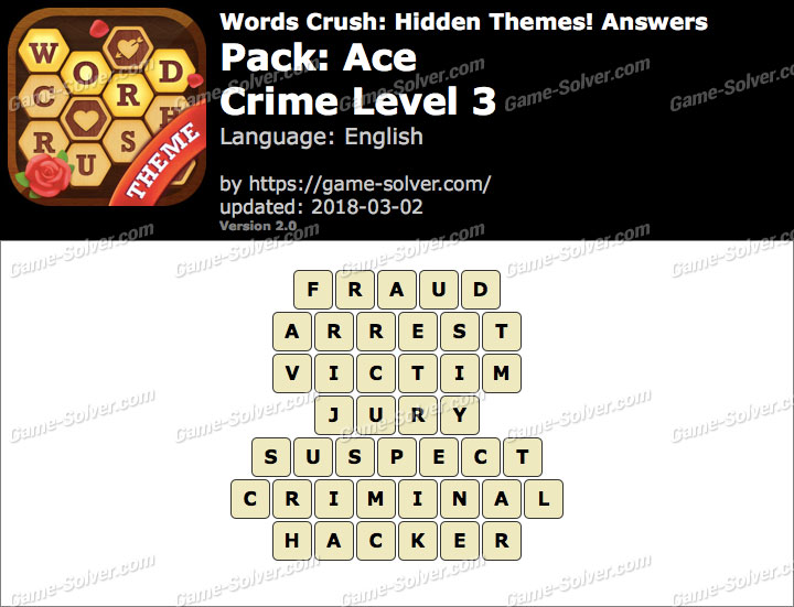 Words Crush Ace-Crime Level 3 Answers