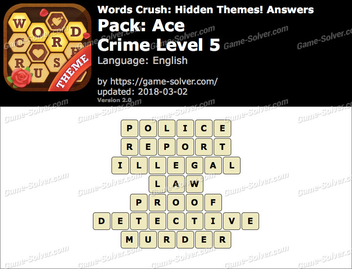 Words Crush Ace-Crime Level 5 Answers
