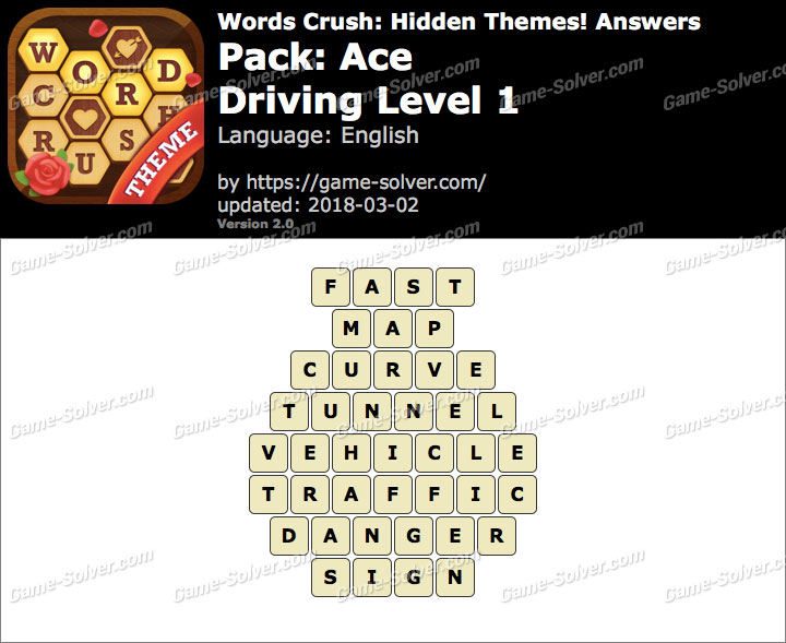 Words Crush Ace-Driving Level 1 Answers