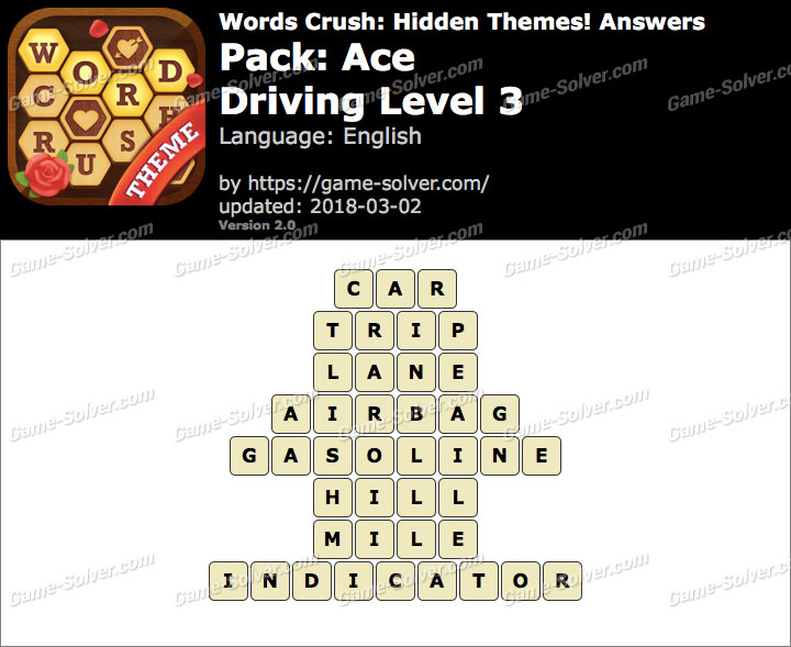 Words Crush Ace-Driving Level 3 Answers