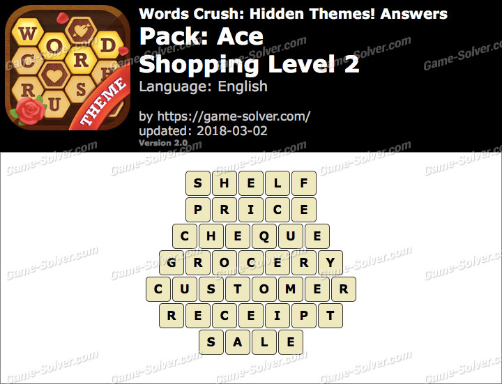 Words Crush Ace-Shopping Level 2 Answers