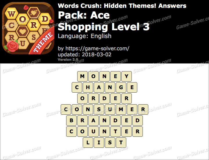 Words Crush Ace-Shopping Level 3 Answers