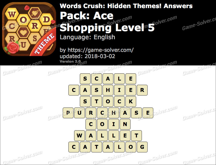 Words Crush Ace-Shopping Level 5 Answers
