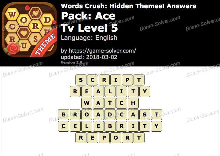 Words Crush Ace-Tv Level 5 Answers