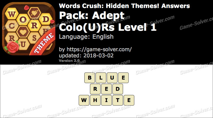 Words Crush Adept-Colours Level 1 Answers