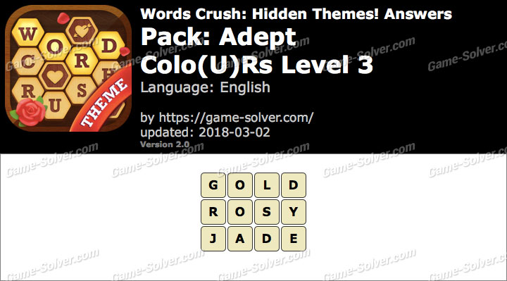 Words Crush Adept-Colours Level 3 Answers