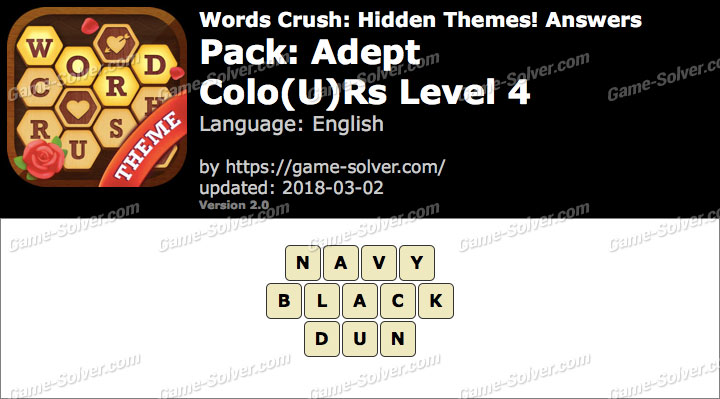Words Crush Adept-Colours Level 4 Answers