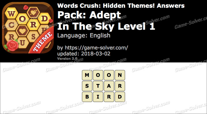 Words Crush Adept-In The Sky Level 1 Answers
