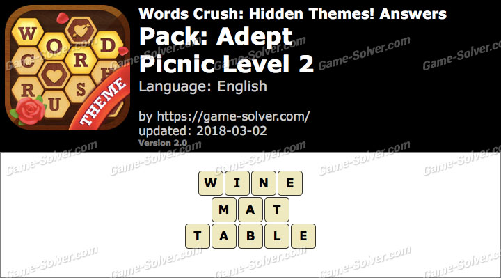 Words Crush Adept-Picnic Level 2 Answers