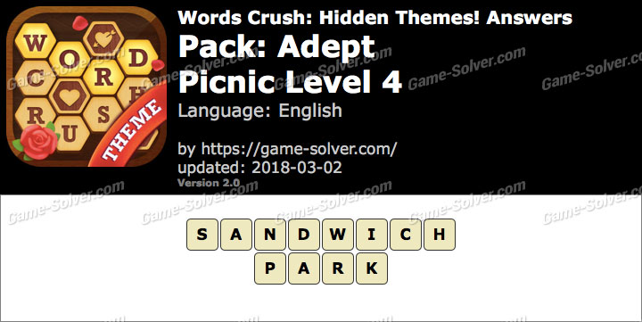 Words Crush Adept-Picnic Level 4 Answers