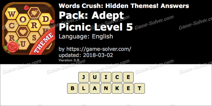 Words Crush Adept-Picnic Level 5 Answers